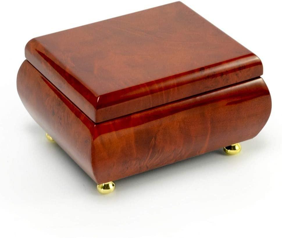 Astonishing Hi Gloss Wood Tone Petite Music Box - Many Songs to Choose - Can't Take My Eyes Off You