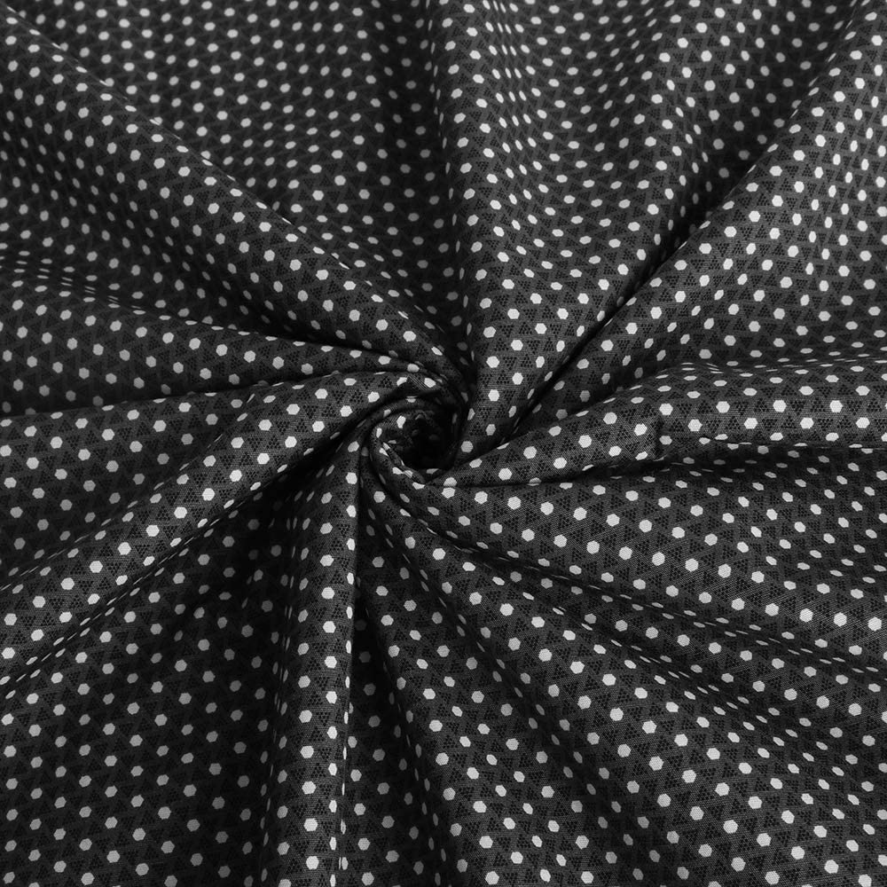 Soft Thin Cotton Fabric Sewing Textiles Pattem Matrial Sewing Arts Crafts (Balck/White Dots) (39 inch 39 inch)