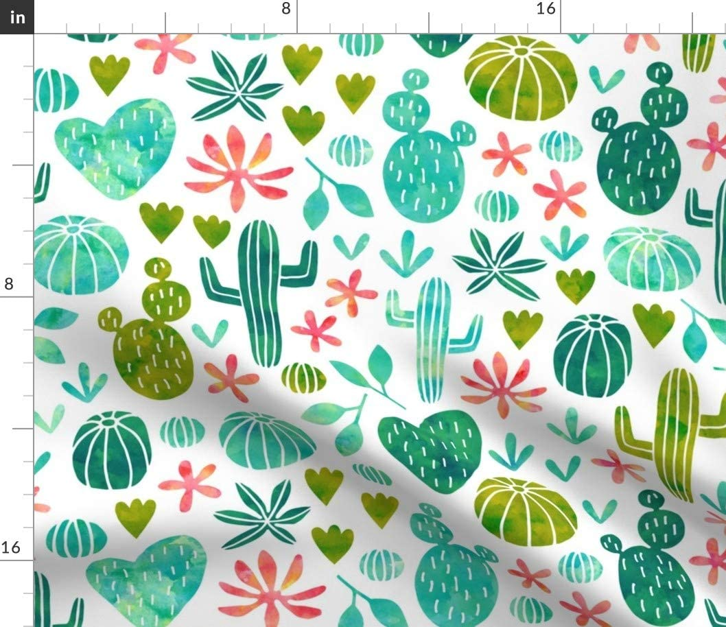 Spoonflower Fabric - Cacti Watercolor Cactus Botanical Nature Succulent Southwest Printed on Petal Signature Cotton Fabric by The Yard - Sewing Quilting Apparel Crafts Decor