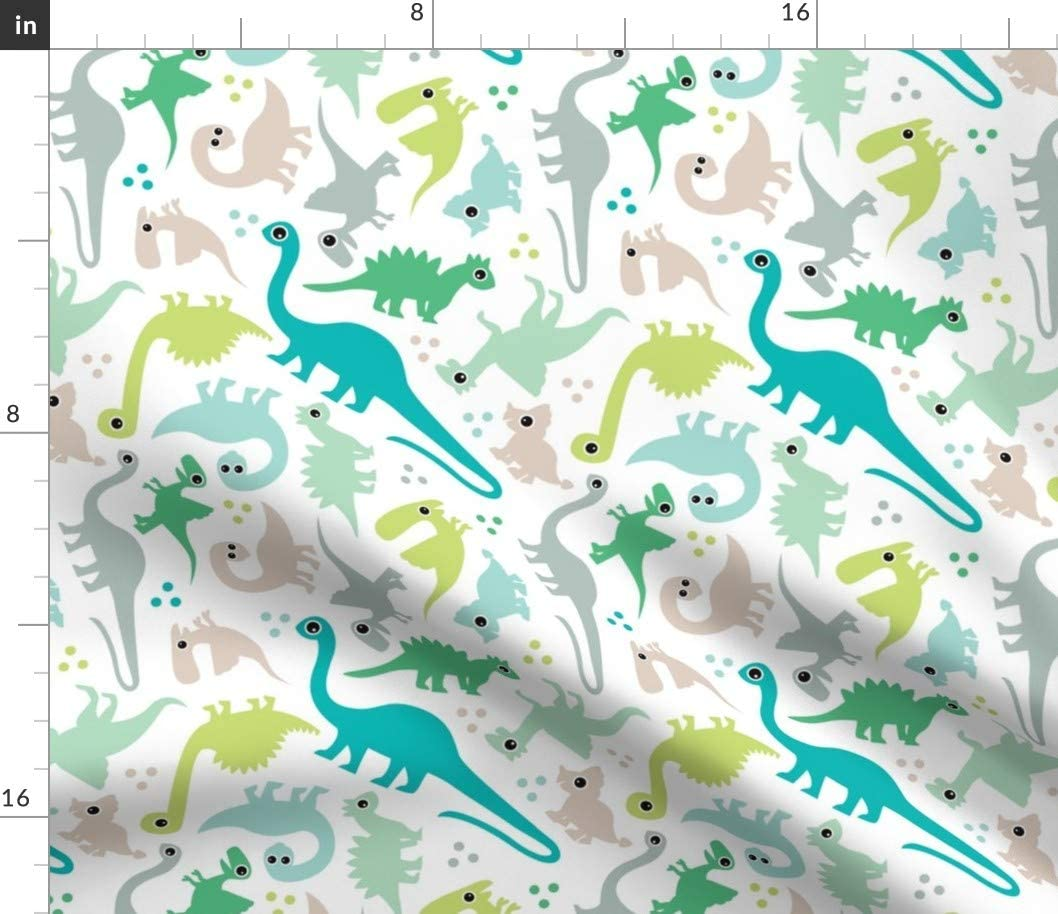 Spoonflower Fabric - Cute Baby Boy Pastel Dinosaur Fantasy Dino Nursery Printed on Cotton Poplin Fabric by The Yard - Sewing Shirting Quilting Dresses Apparel Crafts