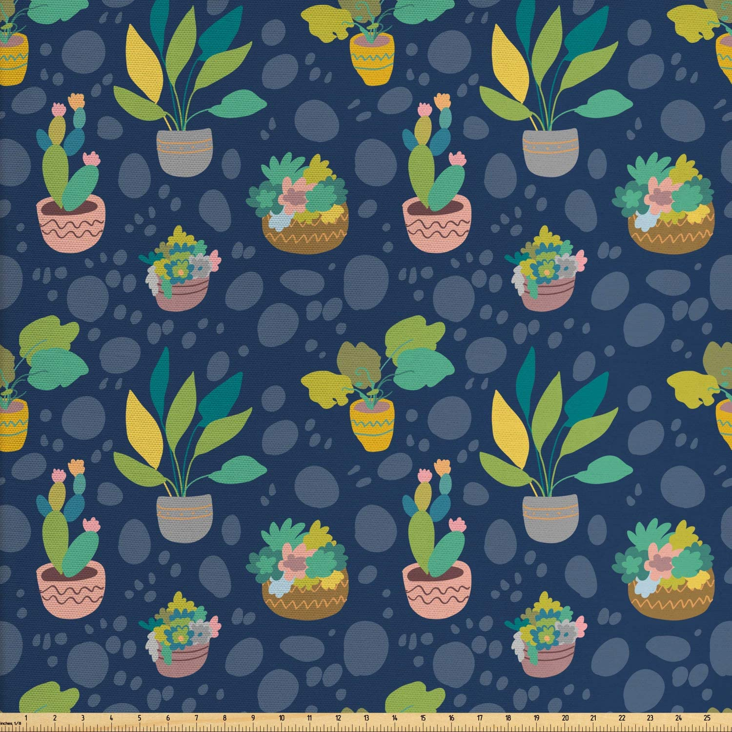 Ambesonne Cactus Print Fabric by The Yard, House Plantation Round Blemishes Succulents Tropical Concept, Decorative Fabric for Upholstery and Home Accents, 1 Yard, Sky Blue