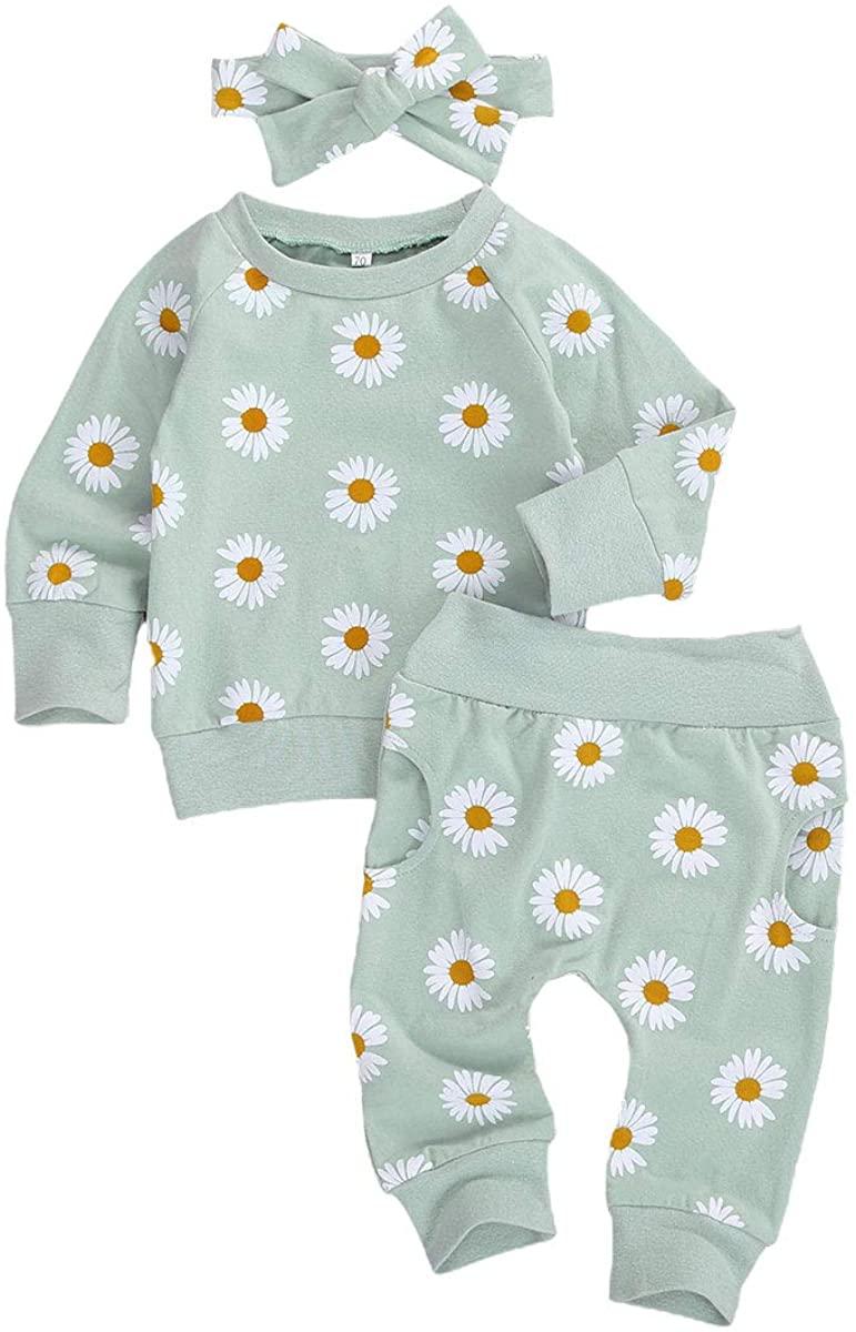 Infant Baby Girl Fall Outfit Daisy Print Sweatshirt Long Sleeve Tops Pants Headband 3 Piece Clothes Pajamas Set