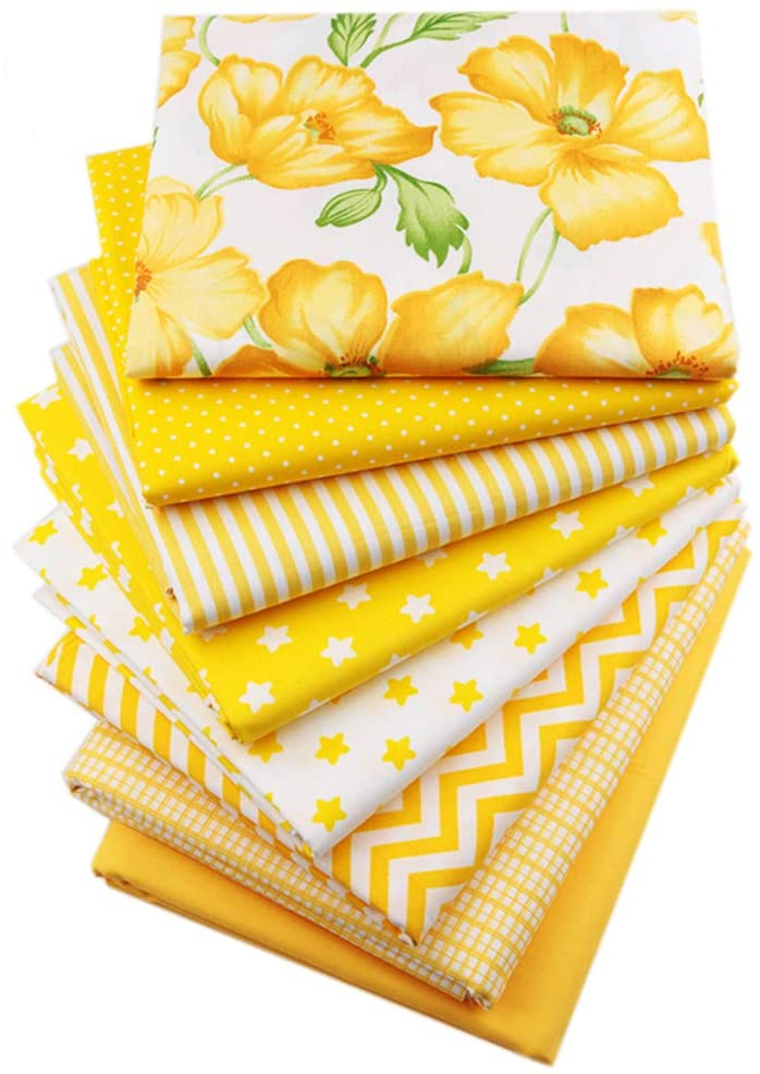 Hanjunzhao Yellow Fat Quarters Fabric Bundles 18x22 inch for Sewing Quilting Crafting