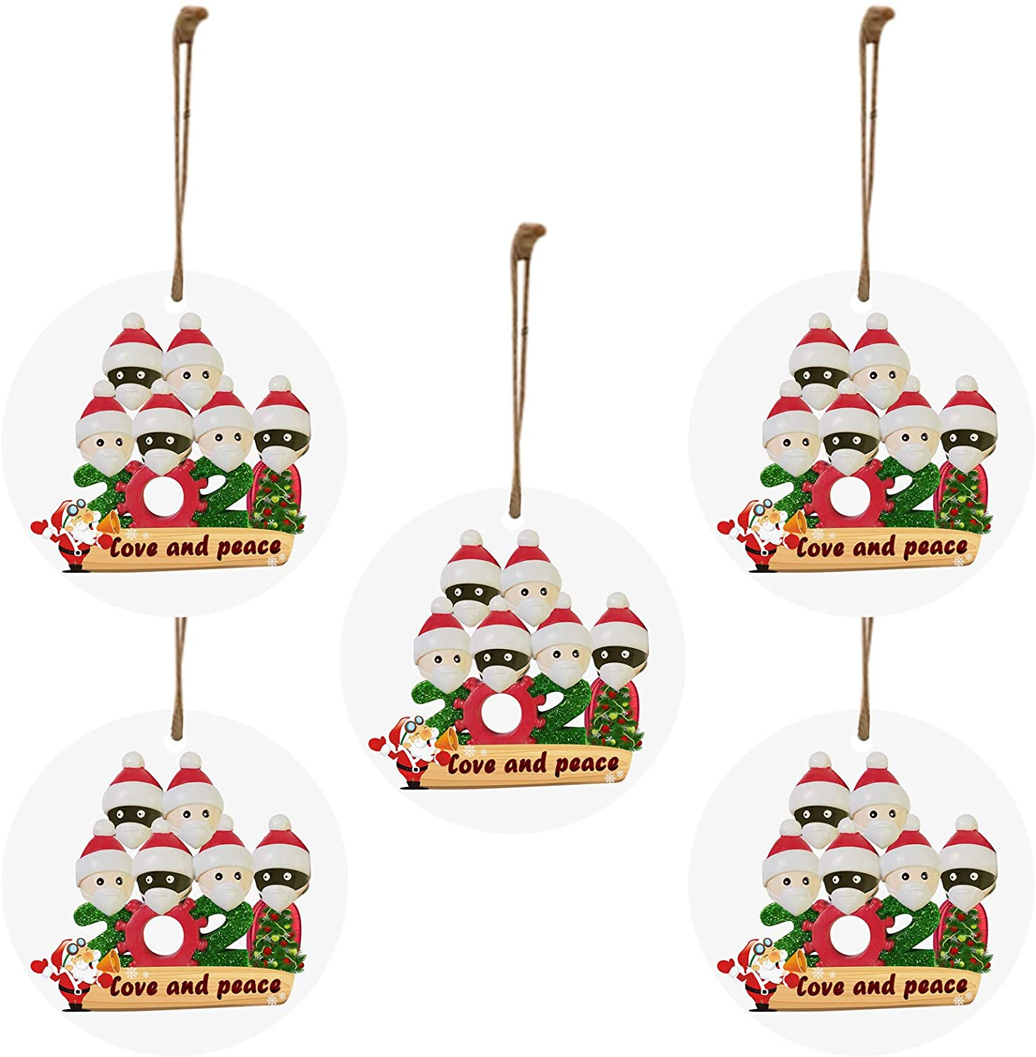 BATKKM Love and Peace Christmas Ornaments 2020 Quarantine Survivor Family Customized Christmas Decorating Kits Creative Gift for Family, Christmas Party Decoration(# Family of 6,5PC)