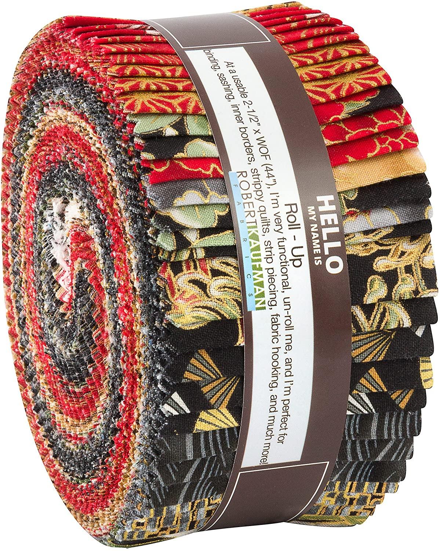 Imperial 14 Metallics Crimson Roll Up 40 2.5-inch Strips Jelly Roll Robert Kaufman Fabrics RU-754-40