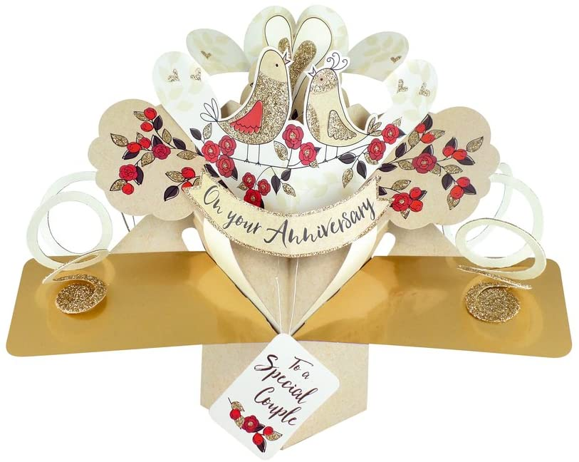 Second Nature Pop Ups Second Nature Birds & Flowers On Your Anniversary Pop Up Greeting Card - POP165A Gold/White