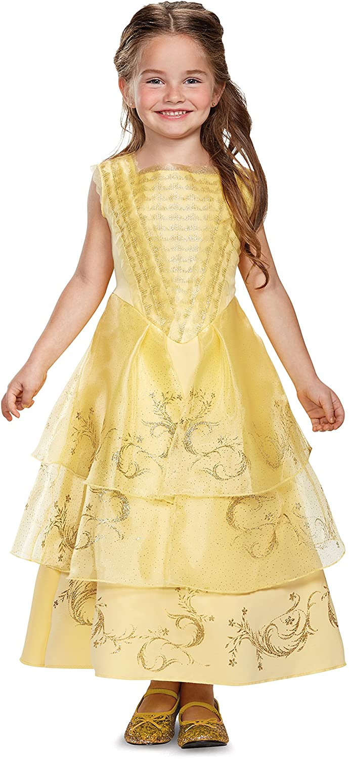 Disguise Belle Ball Gown Deluxe Movie Costume, Yellow, X-Small (3T-4T)