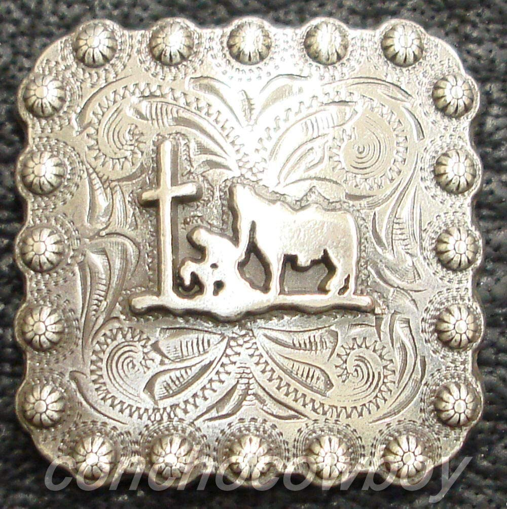Conchos for Belt - Leather Fastener - Western Saddle TACK Antique Praying Cowboy Square Berry Concho 1