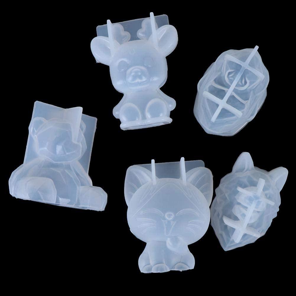 Warmshine 5pcs 3D Animal Silicone Mold DIY Geometry Stereo Bear Mirror Silicone Mold Ornament, Orangutan, Bear, Wolf Head, Sika Deer, Cat Silicone Mold