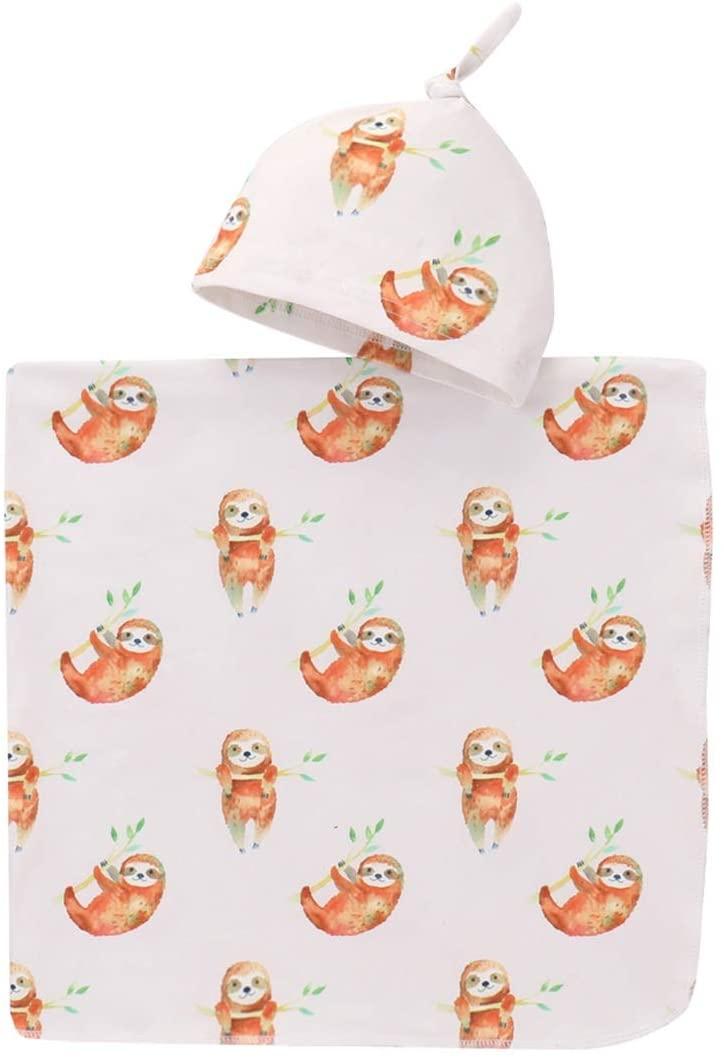 2pcs/Set Muslin Cotton Baby Swaddle Bath Wrap Stroller Crib Bed Sheet +Beanie Cap Sloth Animal Print Suit