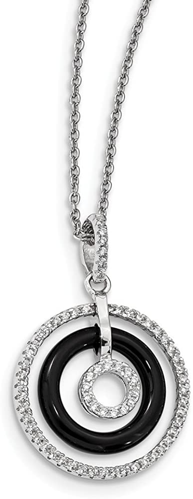 925 Sterling Silver Cubic Zirconia Cz Black Onyx Circles Chain Necklace Pendant Charm Fine Jewelry For Women Gifts For Her