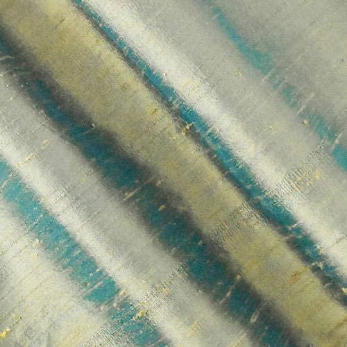 Beige/Deep Teal Iridescent Silk Dupioni Shantung, Fabric by The Yard