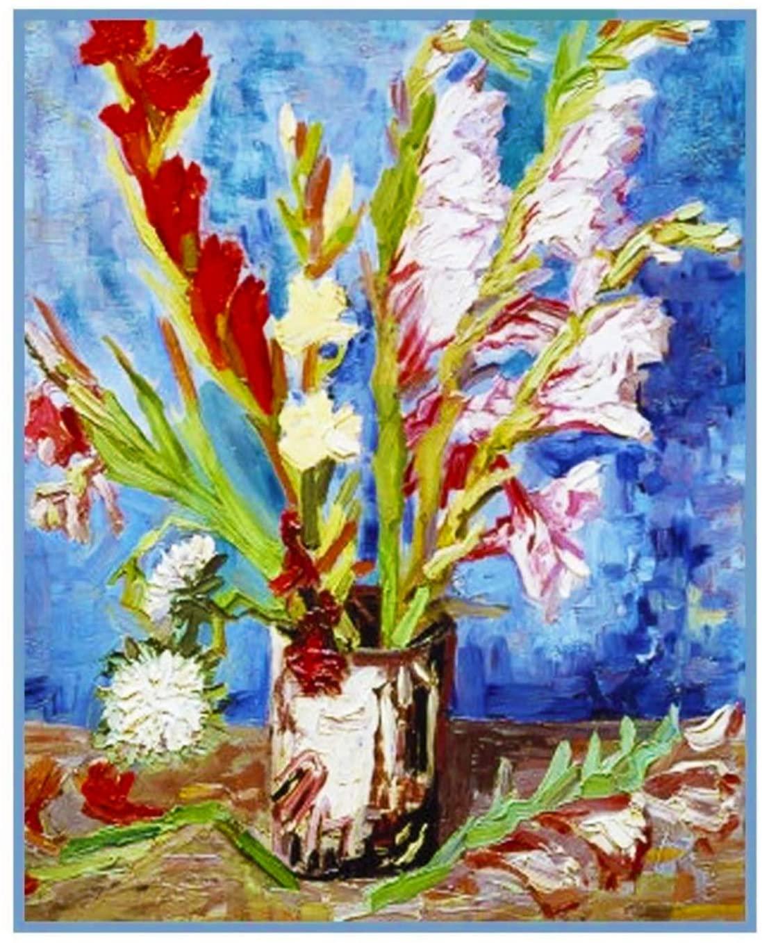 Orenco Originals Vase Red White Gladioli by Van Gogh Counted Cross Stitch Pattern