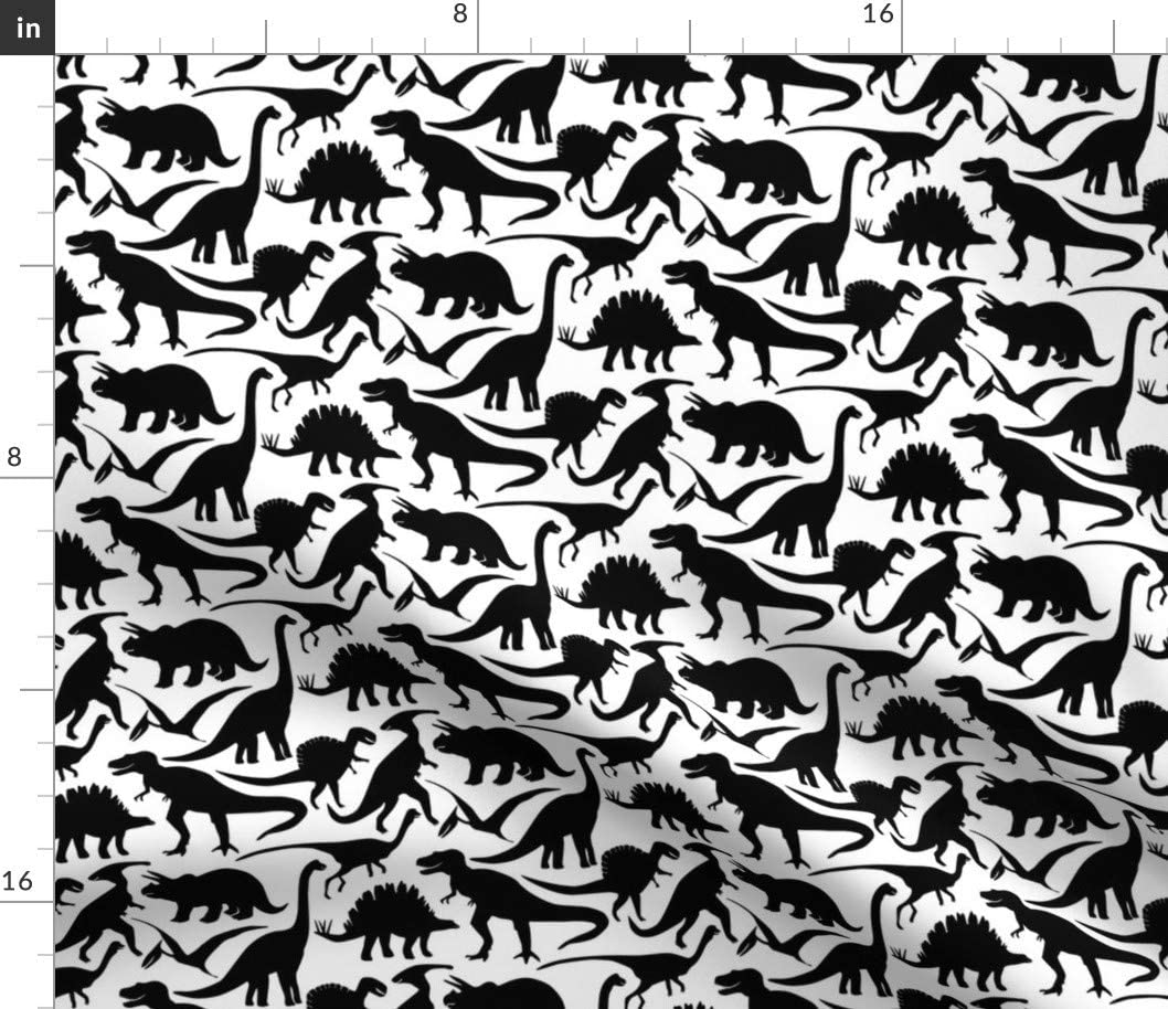 Spoonflower Fabric - Little Black White Dinosaurs Baby Boys Prehistoric Silhouette Printed on Minky Fabric by The Yard - Sewing Baby Blankets Quilt Backing Plush Toys