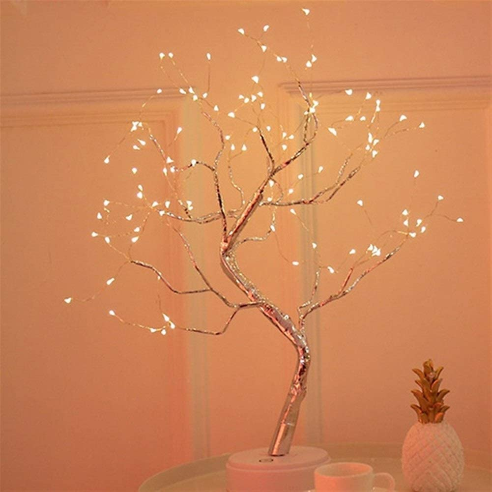 Sognante Fairy Lights,Tree-Shaped Led Light Bonsai Style 36leds 108leds Copper Wire DIY USB Night Light Touch Switch Decorative Light Luci Decorative (Color : Warm Light 108LEDS)