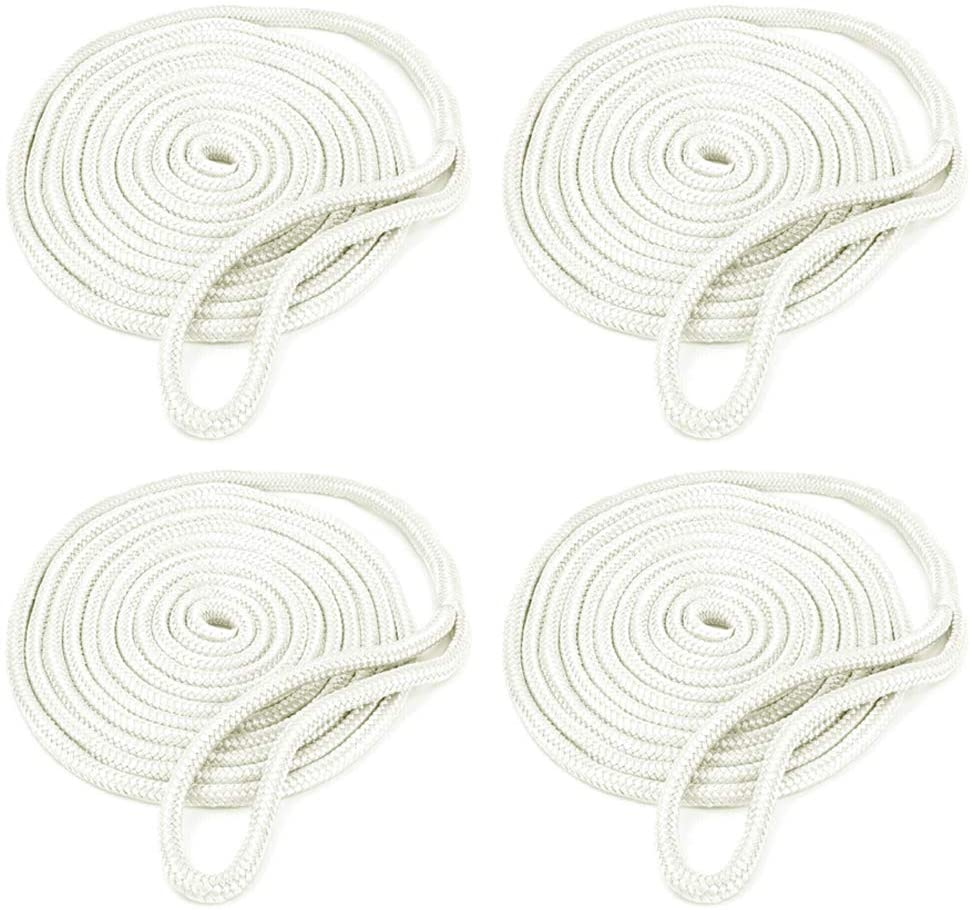 Amarine Made 4-Pack 1/2 Inch 25ft Double Braid Nylon Dockline,Mooring Rope Double Braided Dock Line