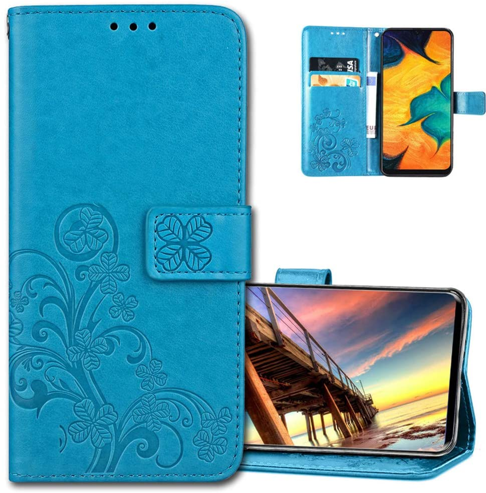 COTDINFORCA Moto E6 Wallet Case Leather Wallet Flip Case with Card Slots Magnetic Closure Protective Embossed Design Cover Case for Motorola Moto E6. Luck Clover Blue