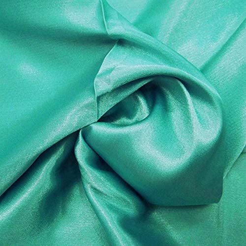 "mds Pack of 35 Yard Charmeuse Bridal Solid Satin Fabric for Wedding Dress Fashion Crafts Costumes Decorations Silky Satin 44""- sea Green"