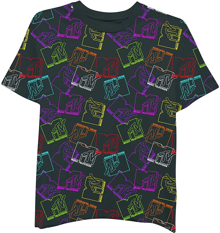 MTV Ladies Short Sleeve Shirt - #TBT Ladies 1980's Clothing - I Want My Logo Allover Boxy Tee