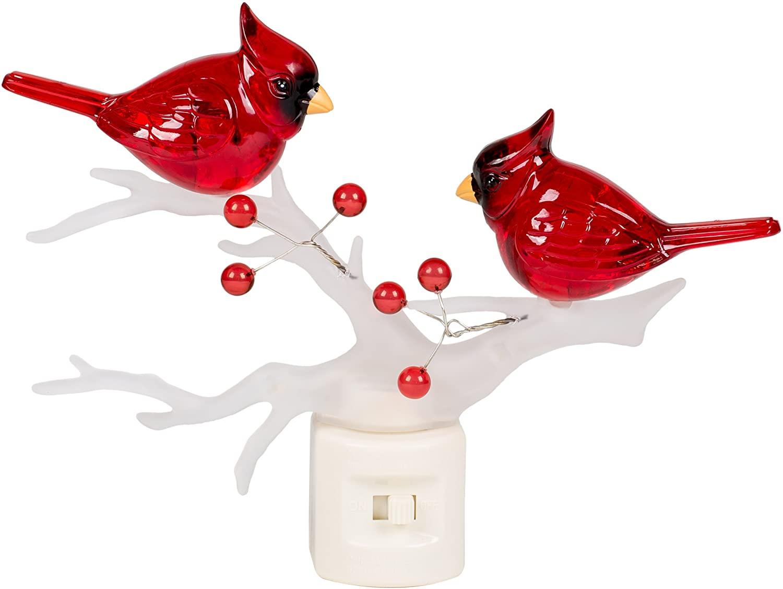 Cardinals on Branch 7 x 6 Inch Plastic Swivel Base Wall Plug In Decorative Night Light