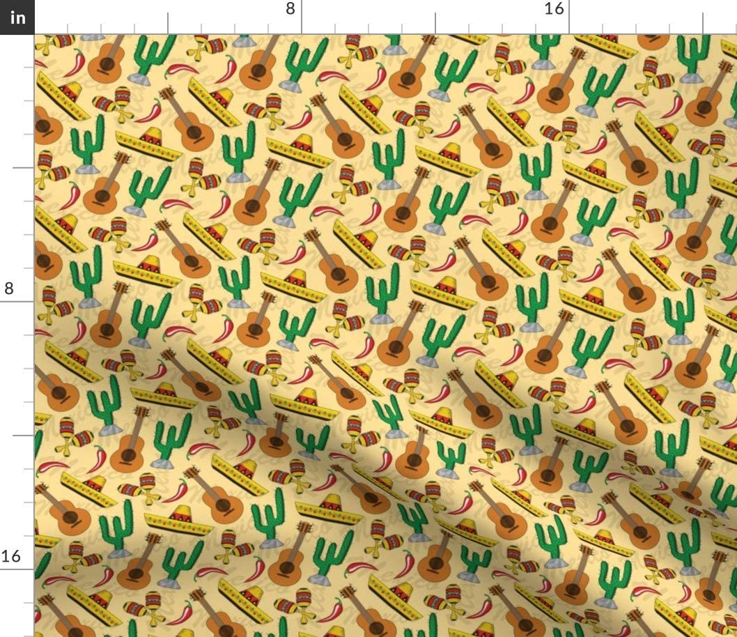 Spoonflower Fabric - Cinco De Mexican Mexico Cactus Guitar Peppers Printed on Cotton Poplin Fabric by The Yard - Sewing Shirting Quilting Dresses Apparel Crafts
