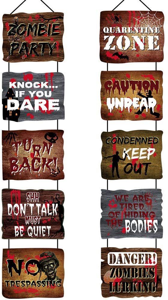 Seasons Stars SSDecor Halloween Banner Beware Sign Decorations 10 Pack, Scary Halloween Door Hanging Banner, Halloween Paper Cutouts Party Supplies Decoration for Home Wall Door Apartment