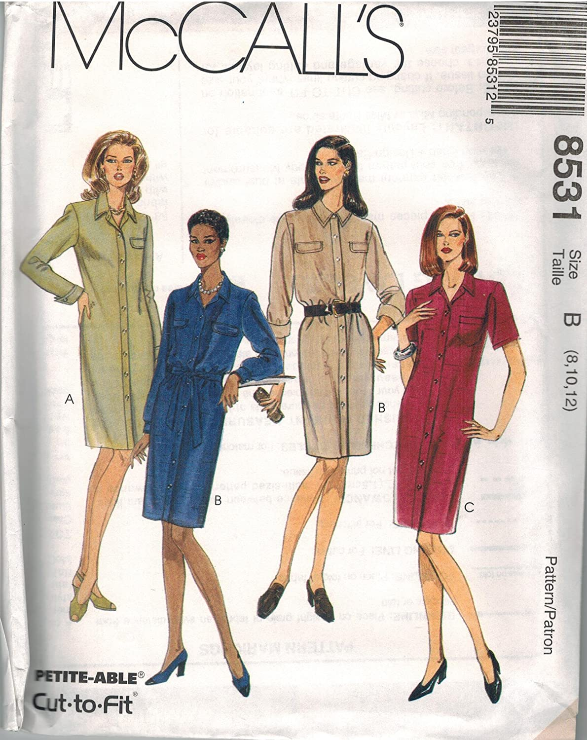 8531 Uncut Vintage McCalls Sewing Pattern Misses Dress Sash Button Opening Size 4 6 8