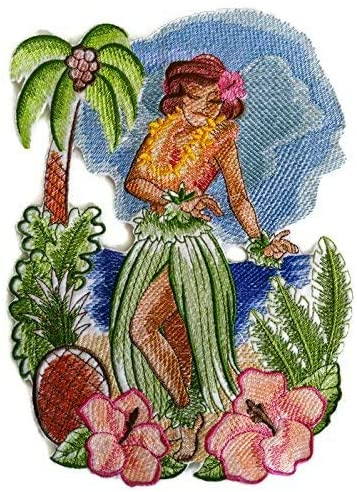 Custom and Unique Hawaii Retro Hula Girl Embroidered Iron on/Sew Patch [10