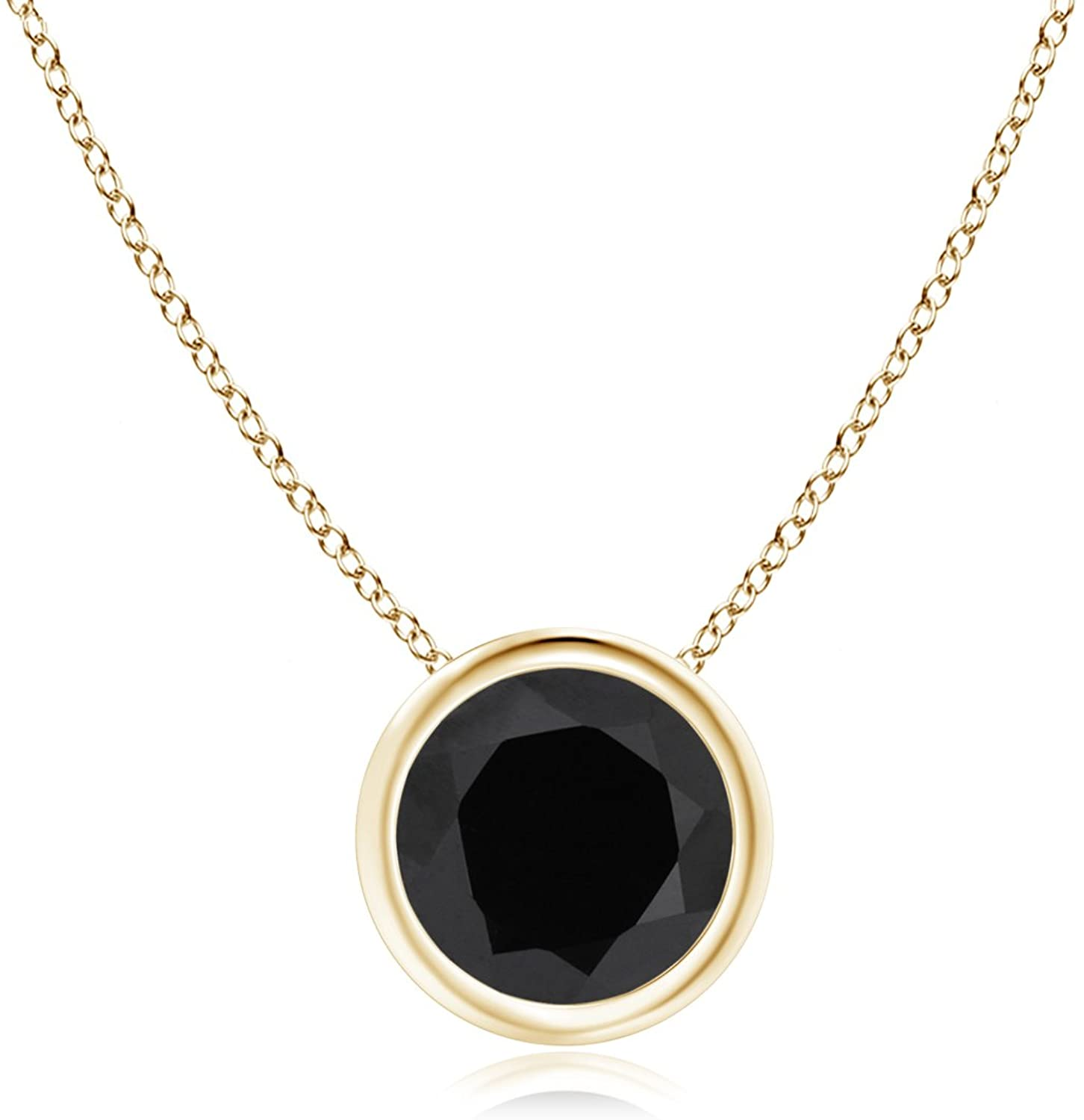 Bezel Set Round Black Onyx Solitaire Pendant in 14K Yellow Gold (6mm Black Onyx)
