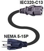 CL60195 82 18AWG SJT NEMA Power Cord 5-15P to IEC320-C13