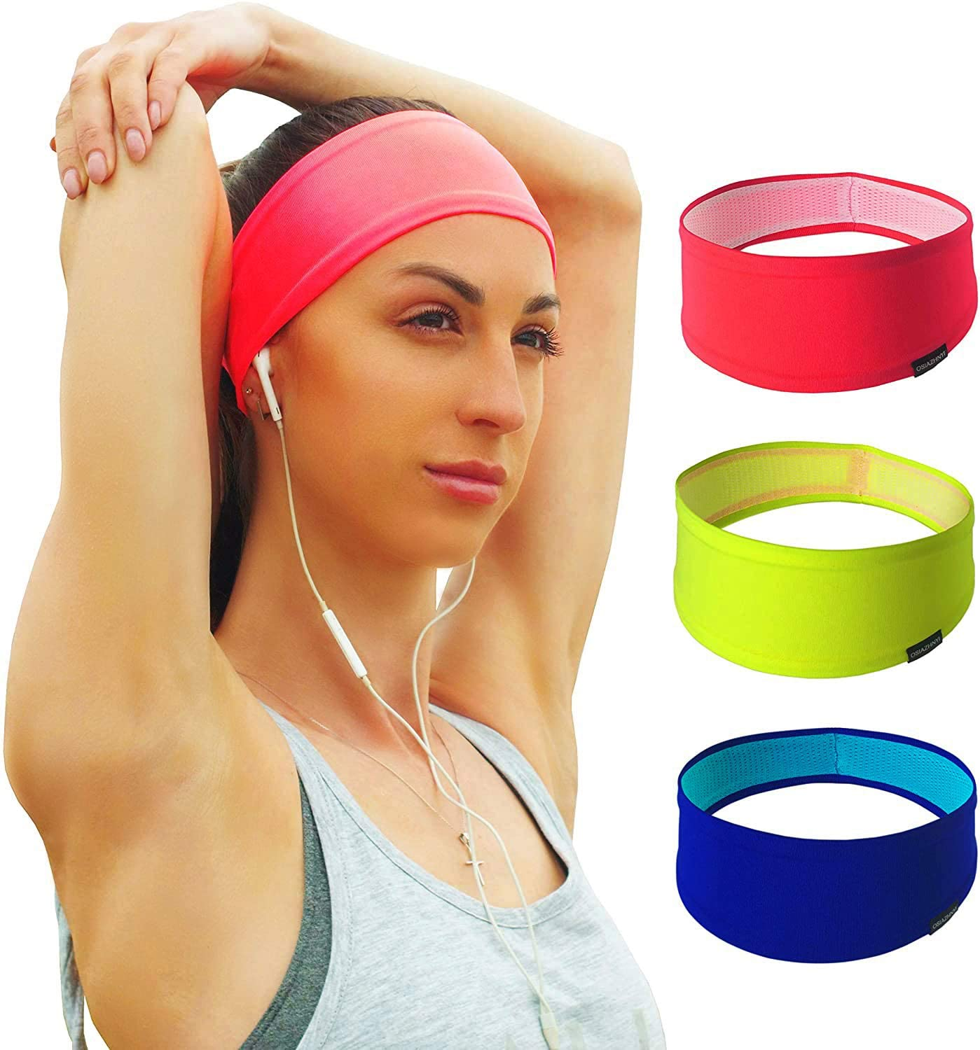 OSIAZHNYI Set of 3 Workout Headbands for Women Running Fitness Yoga Travel Gym Cycling Tennis - Sports Elastic Wicking Sweat Bands Bright Colors Non-Slip