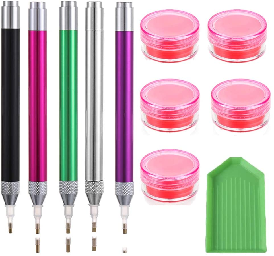 5D Diamond Painting Tools Point Drill Pens with Light - Lighting Diamond Painting Tools for DIY Crafts Sewing Cross Stitch Accessories(5 pcs)