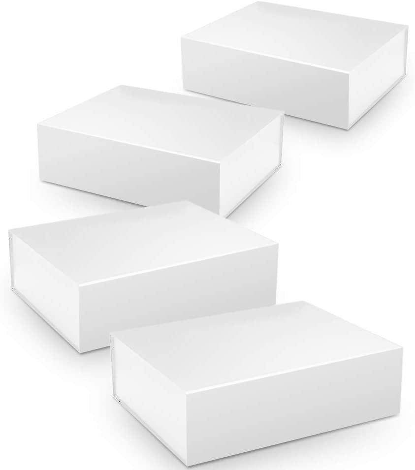 Gift Boxes, Smooth Surface Decorative Gift Box with Lid, 10.5 * 7.5 * 3in Magnetic Packaging Boxes for Bridesmaid Gifts, Groomsmen Proposal Gift, Wedding, Christmas (4 Pack)