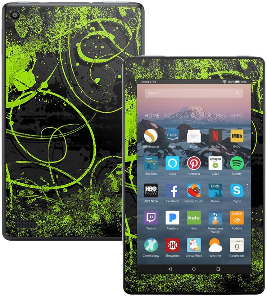 MightySkins Skin Compatible with DHgate Kindle Fire 7 (2017) - Green Distortion | Protective, Durable, and Unique Vinyl Decal wrap Cover | Easy to Apply, Remove, and Change Styles | Made in The USA