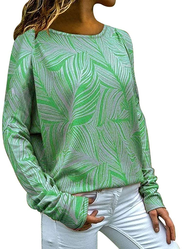ZEFOTIM Blouse Long Sleeve Shirt, 2019 Plus Size Womens Fashion Loose Casual Long Sleeve Floral Print Round Neck Top