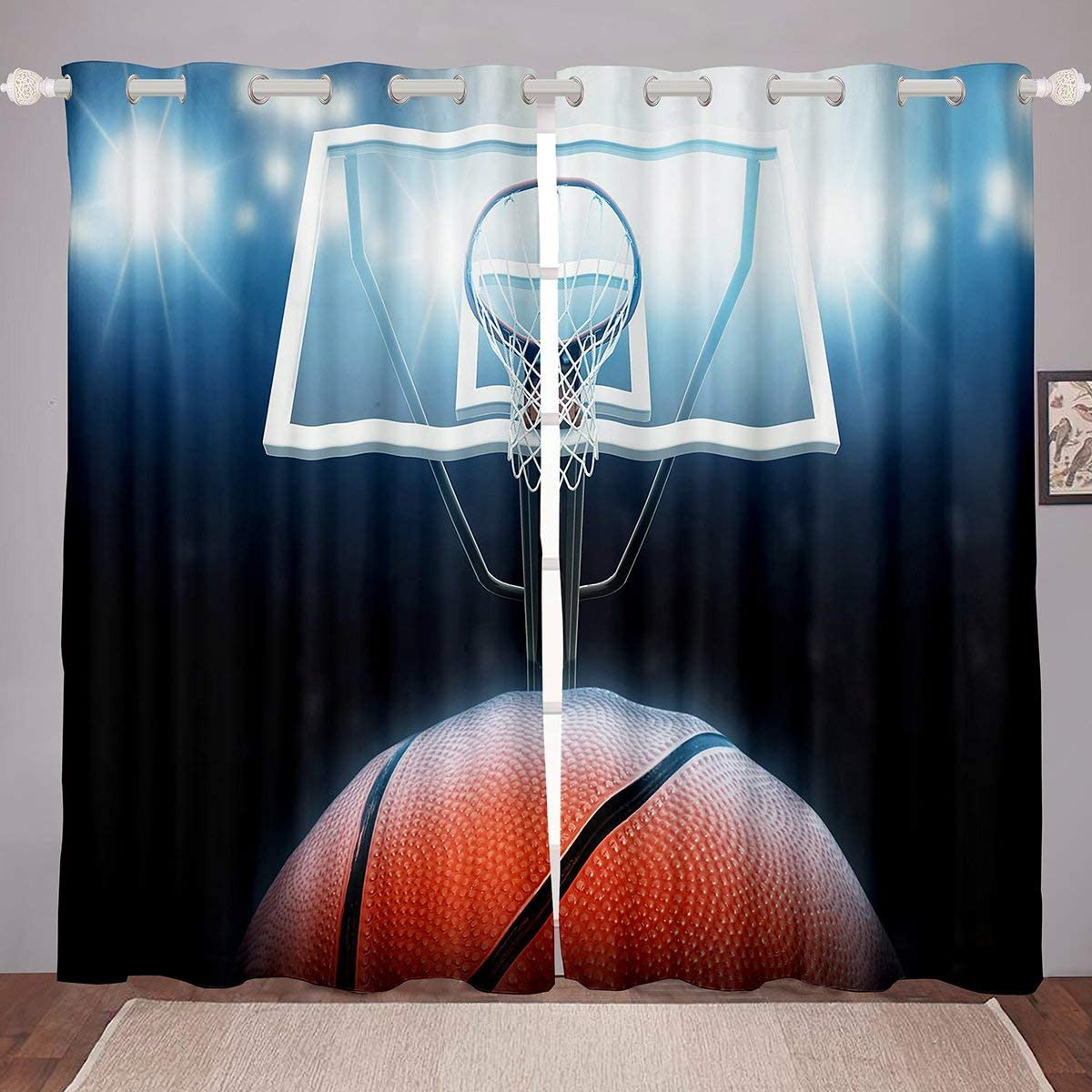 Basketball Window Drapes, Sports Games Window Curtain Panels For Kids Boys Girls Children Basketball Court Curtains, Teens Adult Window Treatment Set Shades For Bedroom Living Room 104
