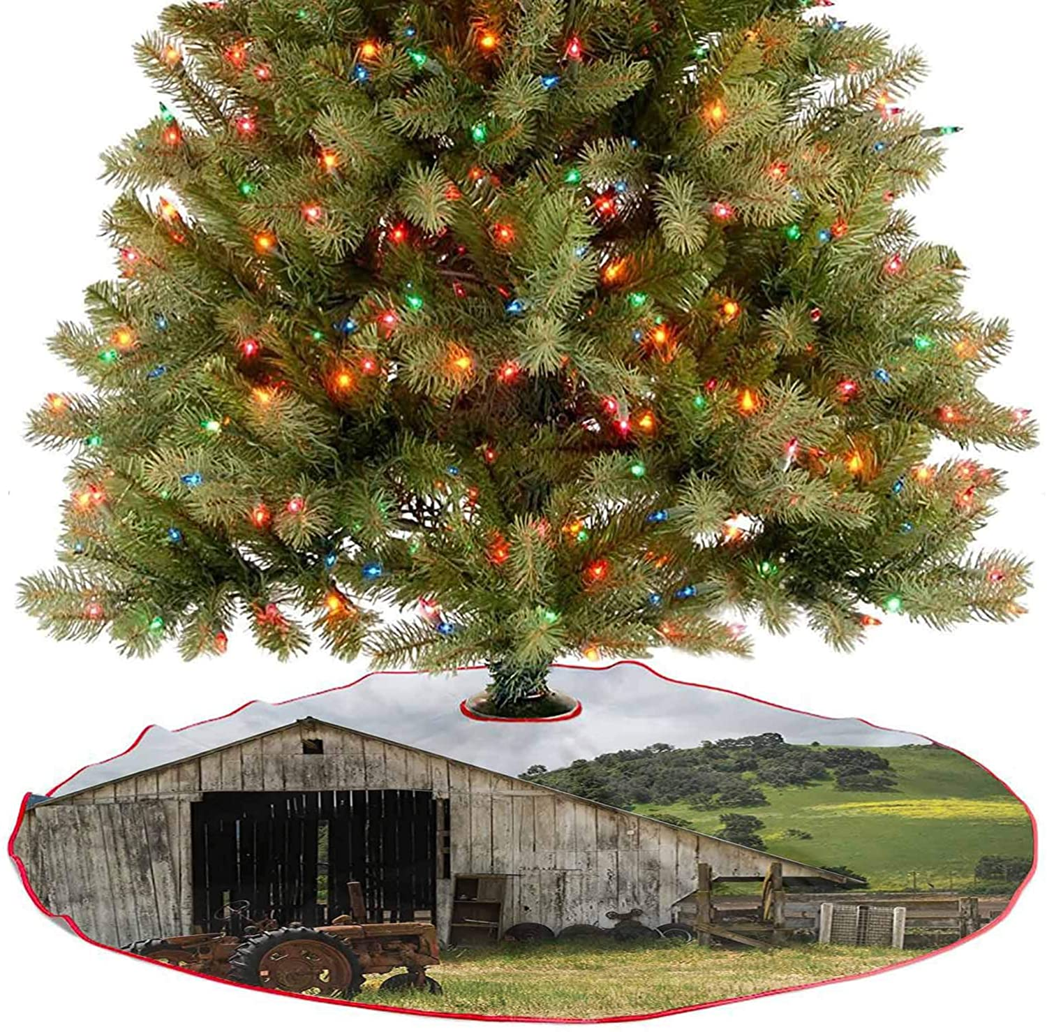 Tree Skirt Old Wooden Barn with Rusted Tractor on Hillside Enclosed with Wooden New Year Party Supply A Simple But Elegant Design - 30 Inch