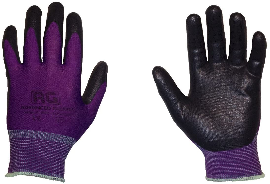 AG NiTex P-200 PP, Nitrile Foam Coated Work Gloves, 12 Pairs, Purple Gloves, Touchscreen Technology (PP-M)
