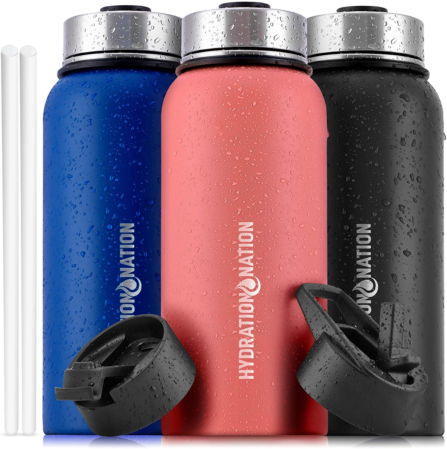 Hydration Nation (32oz) Vacuum Insulated Water Bottle - Durable Metal Water Bottle For Sports & Outdoor - Thermo Stainless Steel Water Bottle With Straw & 3 Lids For Hot & Cold Drinks (Peach)