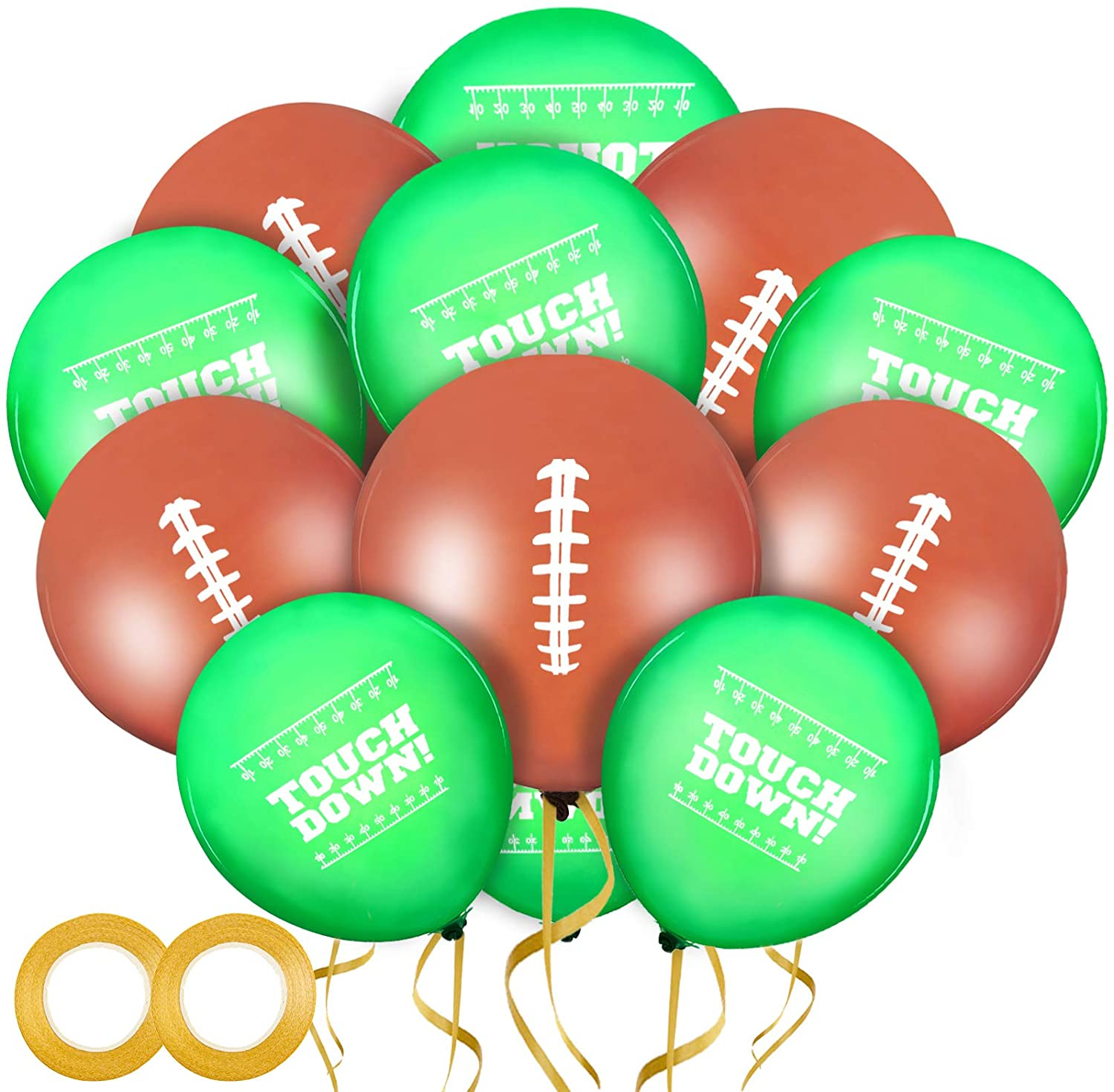 60 Pieces Football Balloons Football Field Latex Balloons Football Party Balloons and 2 Rolls Gold Balloons Ribbon for Superbowl Tailgate Game Day Football Theme Supplies Birthday Party Decorations