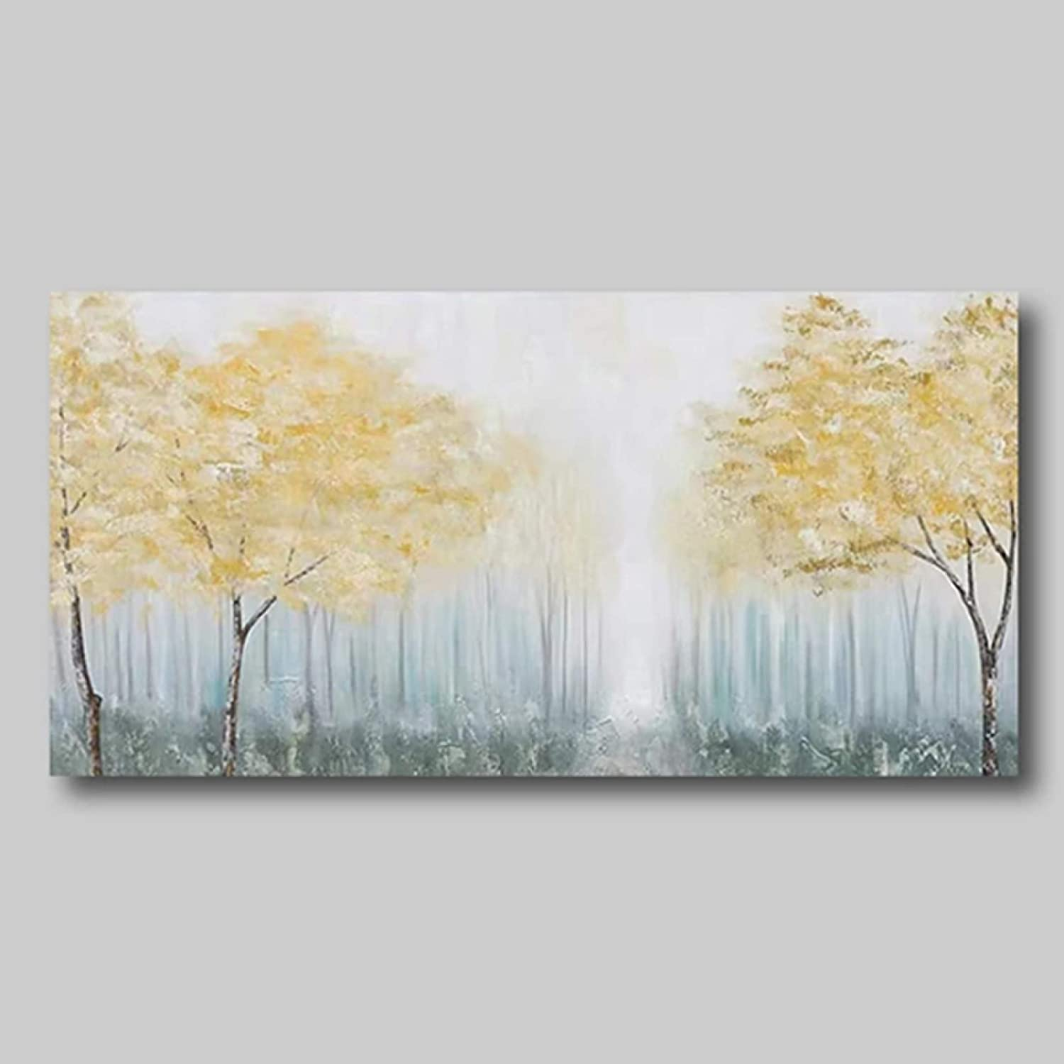 Hand Painted Oil Painting,Modern Art Canvas Prints Wall 100% Hand Painted Abstract Oil Paintings Golden Woods Landscape Wall Art Picture for Living Room Bedroom Decorations,140×280Cm