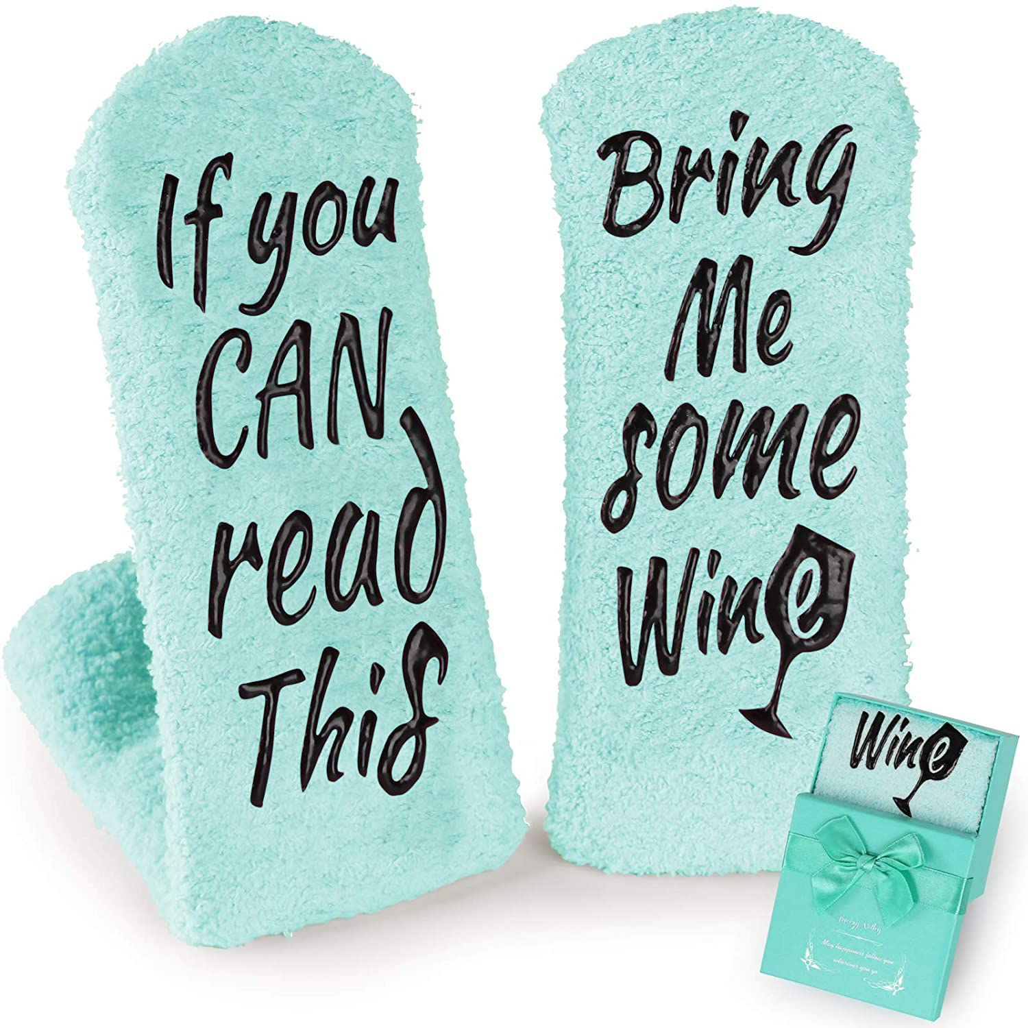 Wine Socks Gifts for Women, Birthday Gifts for Women Friends Female - If You Can Read This Bring Me Some Wine Socks, Funny Grandma Present, for Mom, Wine Accessories Gift Boxes - Teal