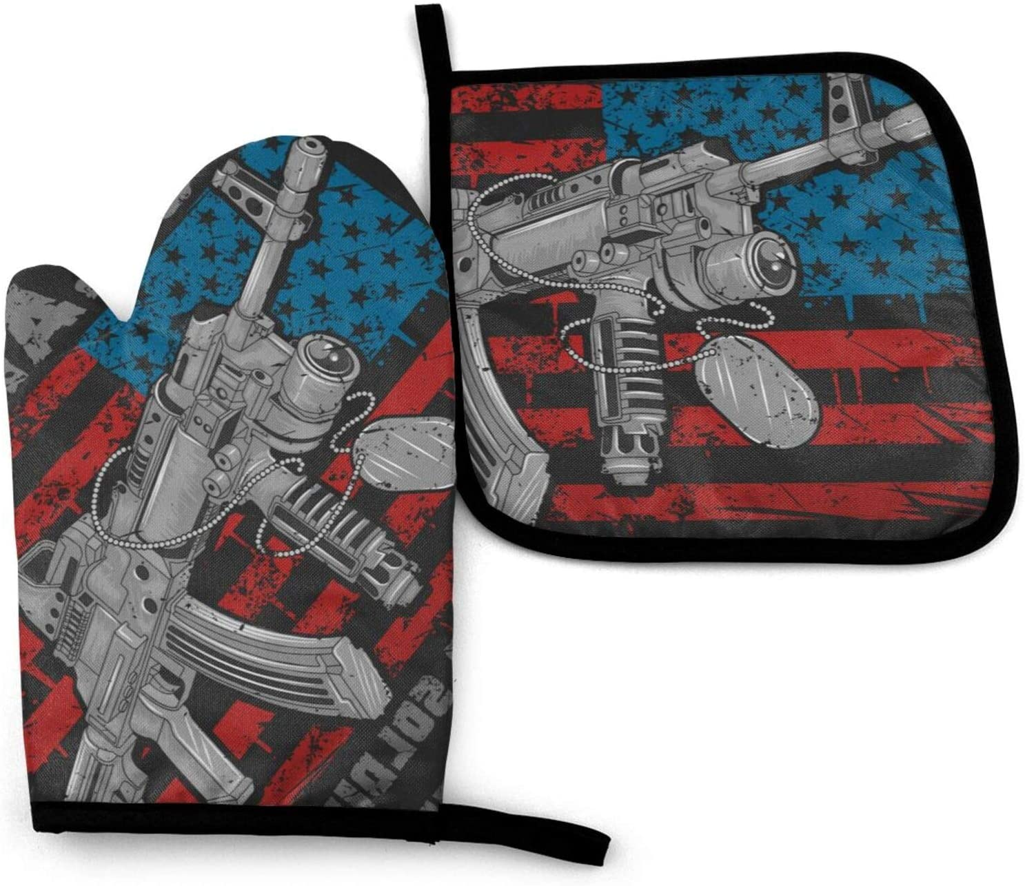 LASWEGA USA America Flag Gun Oven Mitts and Pot Holders Set,Heat Resistant Gloves & Potholder for Cooking,Baking,Grilling,Serving,BBQ Or Dinner Party,Decorative Kitchen Gift