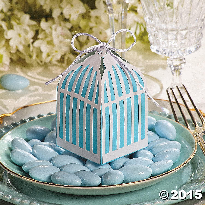 OTC Birdcage Blue and White Wedding Favor Gift Boxes - 12 pc