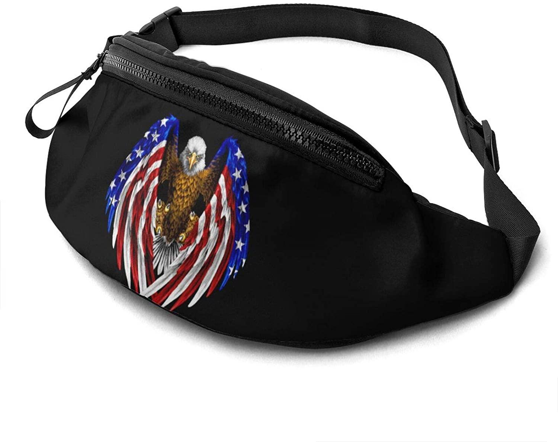 America Usa Flag With Eagle Fanny Pack Fashion Waist Bag