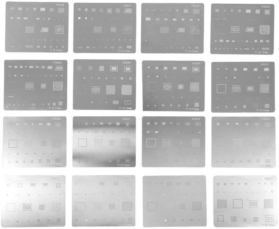 Yosoo Health Gear Reballing Stencil, 16pcs IC Chip BGA Reballing Stencil Kits Set Solder Template for BGA Reballing for Phone Repair Shop