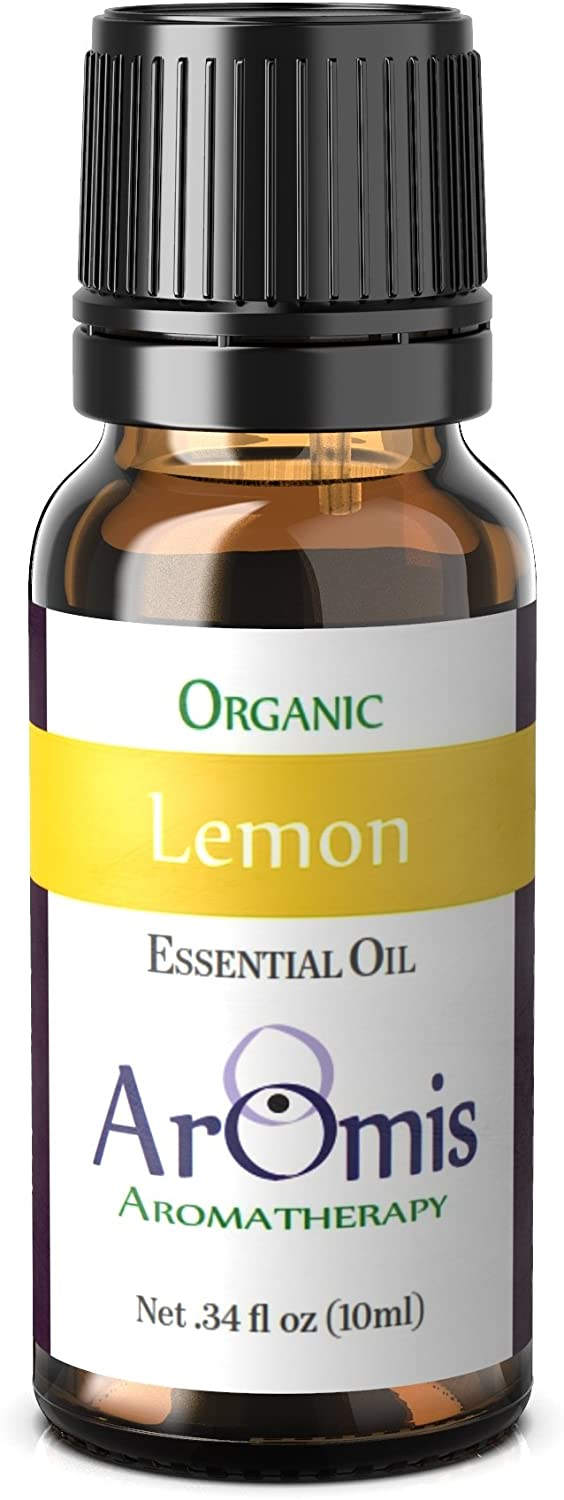 AROMIS Organic Lemon Essential Oil - Pure Lemon Oil for Aromatherapy Diffuser, Stress Away Massage Oil, Natural Fragrance Oil, Lime Oil for Skin, Hair and Face, Undiluted Pure Therapeutic Grade