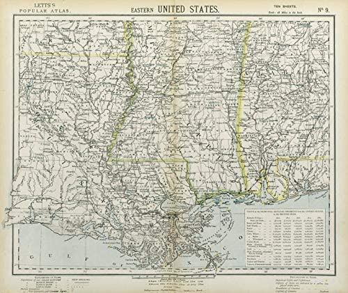 US Gulf Coast Louisiana Mississippi Alabama Railroads Lighthouses Letts - 1883 - Old map - Antique map - Vintage map - Printed maps of Louisiana