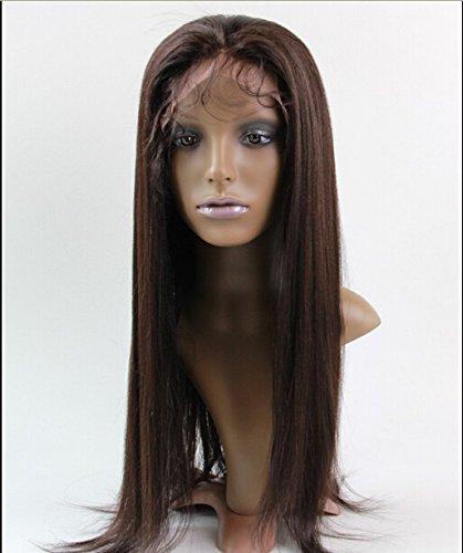 DaJun Hair 16 Full Lace Virgin Hair Wigs Tory Women Chinese Virgin Remy Human Hair Yaki Straight Color #2 Dark Brown