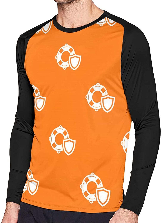 Lifeguard Pattern2 Men's Printed Long Sleeve T-Shirt Long Top Loose Shirt Sports Crew Neck Shirt